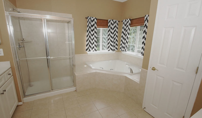 Bathroom with Dual Vanities, Soaker Tub and Walk-in Shower